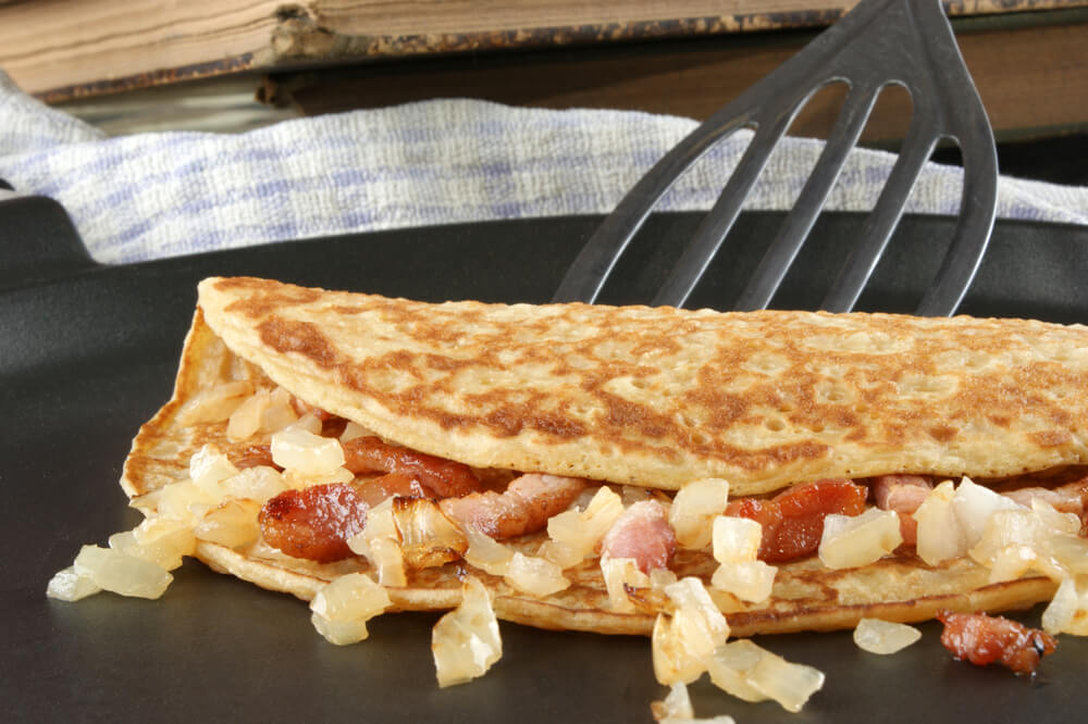 Ketogenic diet pancake with onion and bacon